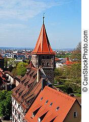 vieille ville, bavière, panorama, allemagne, nuernberg, vue