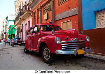 vieille ville, cuba, vendange, voiture rue, havane, rouges