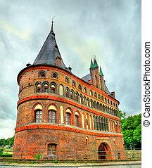 vieille ville, holsten, lubeck, allemagne, portail, holstentor, ou