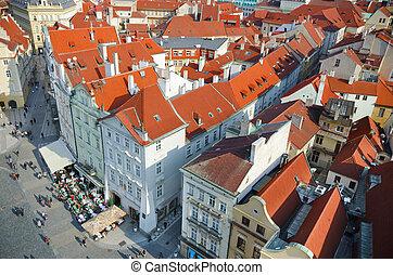 vieille ville, toits, oiseaux, yeux, vue, prague