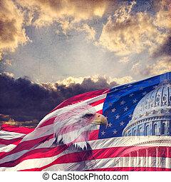 vieilli, aigle, etats, capitole, textured, effect., américain, uni, chauve, drapeau