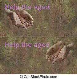 vieilli, bannière, aide, campagne