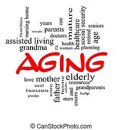 vieillissement, concept, mot, casquettes, nuage, rouges