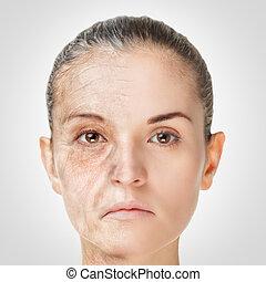 vieillissement, concept, vieux, rajeunissement, processus, jeune, peau, anti-vieillissement, procédures