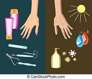 vieillissement, processus, illustration, main, vecteur, reason., peau