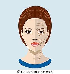 vieillissement, vieux, processus, jeune, figure, peau, vecteur, deux, types