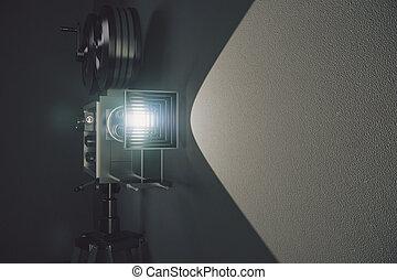 vieja cámara fotográfica de la película del estilo, en, gris, pared, plano de fondo