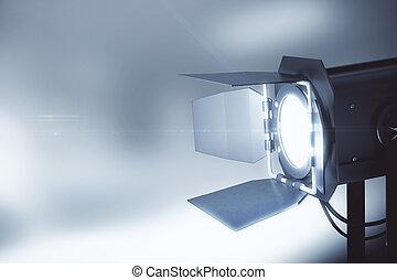 vieja cámara fotográfica de la película del estilo, en, gris, plano de fondo