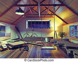 viejo, ático, interior