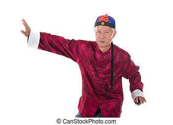 viejo, 3º edad, chino, kung fu, maestro