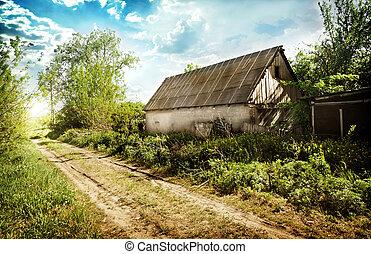 viejo, abandonado, casa, en, el, aldea