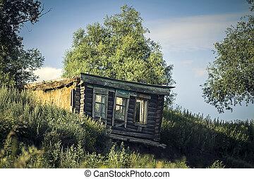 viejo, abandonado, casa, en, el, village.