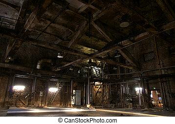 viejo, abandonado, fábrica