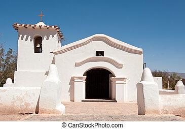viejo, adobe, iglesia, en el campo, de, argentina.
