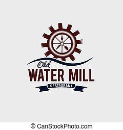 viejo, agua, molino, restaurante, concepto, vector, diseño, plantilla