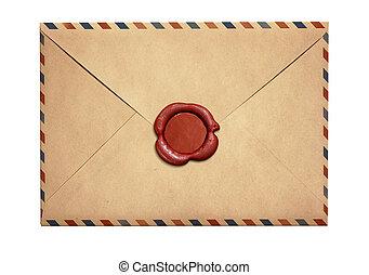 viejo, aire, carta, sobre, con, rojo, sello de lacrar, aislado