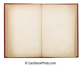 viejo, aislado, libro, plano de fondo, blanco, abierto