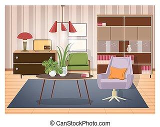 viejo, amueblado, lámpara, eslabón giratorio, radio, formado, style., vida, decoración, habitación, -, retro, interior, café, colorido, colgante, transmisor, mobiliario, illustration., sillón, aparador, light., vector, tabla