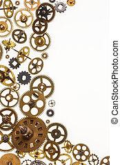 viejo, aparato de relojería, dientes, y, reloj, partes, -, espacio, para, texto