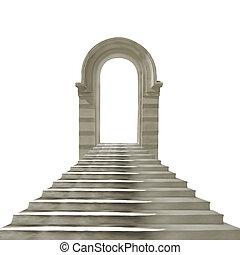viejo, arco de piedra, con, concreto, escaleras, aislado, blanco, plano de fondo