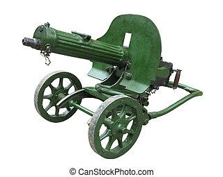 viejo, arma de fuego, máxima, aislado, máquina, fondo verde,...