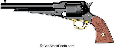 viejo, arma de fuego, (pistol), mano