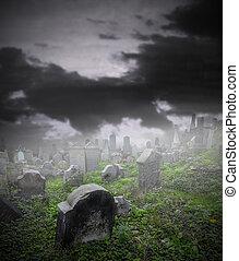 viejo, arruinado, cementerio, en, misterio, niebla