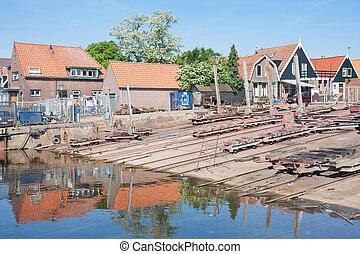 viejo, astillero, en, urk, un, pueblo de pesca, en, el, países bajos