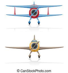 viejo, avión, vector, ilustración