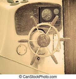 viejo, barco de madera, rueda