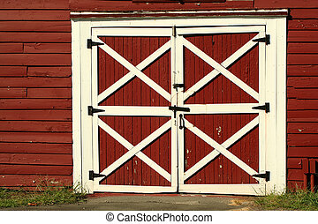 viejo, bard, rojo, puertas