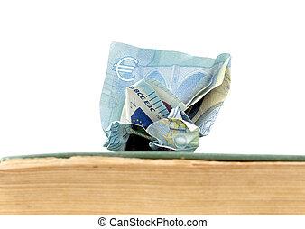 viejo, billete de banco, resistido, od, book., coste, educación, euro