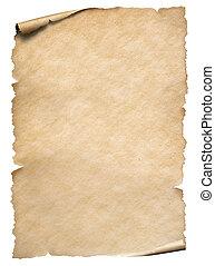 viejo, blanco, papel, hoja, aislado