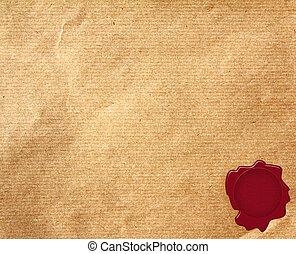 viejo, blanco, papel, sello de lacrar, rojo