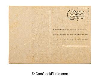 viejo, blanco, tarjeta del poste, fondo blanco