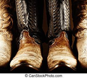 viejo, botas, contraste, vaquero