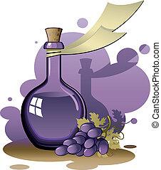 viejo, botella, uvas, ramo
