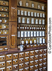viejo, botellas, vacío, olor, farmacia