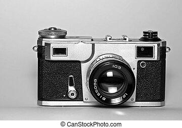 viejo, cámara, range-finder, (front, soviético, view)