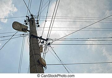 viejo, cableado eléctrico
