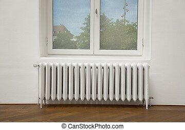 viejo, calefacción, radiador