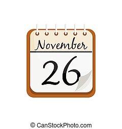 viejo, calendar., calendario, noviembre, 26, acción de gracias, day., caricatura