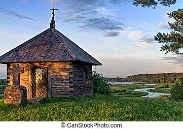 viejo, capilla, en, ocaso