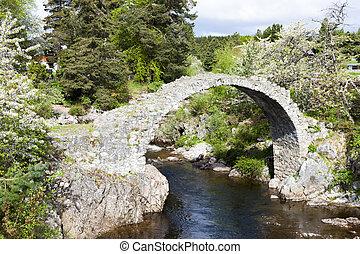 viejo, carrbridge, escocia, packhorse, tierras altas, puente