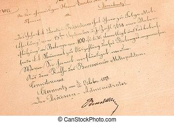 viejo, carta manuscrita, de, 1873