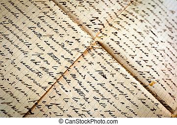 viejo, carta manuscrita