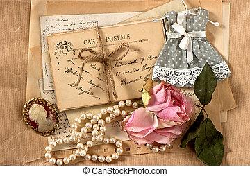 viejo, cartas, postales, y, vendimia, cosas