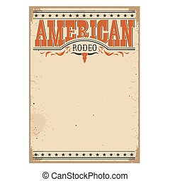 viejo, cartel, norteamericano, textura, rodeo, papel, texto