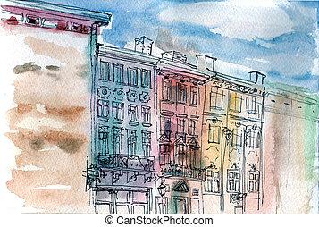 viejo, casa, acuarela, calle, cityscape, dibujo, balcón