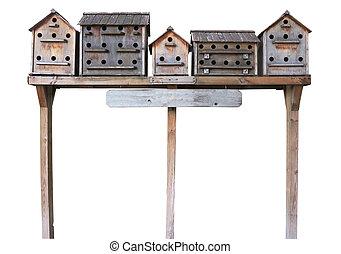 viejo, casa de madera, encima, aislado, cajas, estornino, ...